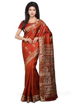 Buy Rust Pure Baluchari Silk Handloom Saree with Blouse online, work: Hand Woven, color: Rust, usage: Wedding, category: Sarees, fabric: Silk, price: $257.78, item code: SQGA40, gender: women, brand: Utsav