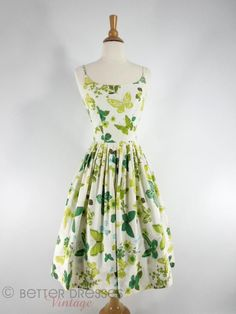 True Vintage 1950s Cotton Sundress With Full Skirt. Green Butterflies, Blue Flowers - sm by Better Dresses Vintage