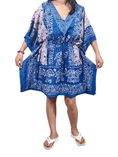 Womans Short Kaftan Caftan Blue Elephants Printed Lounger Wear Beach Coverup Tunic Mogul Interior http://www.amazon.com/dp/B013BIR1Z4/ref=cm_sw_r_pi_dp_mw0Wvb11WAHR9