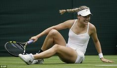 LONDON - The Championships Wimbledon ... DANGEROUS, WET GRASS!! Eugenie Bouchard went on to beat Ana Ivanavic in her 2nd round match after this hard fall. #UnSafe! 6/26/13