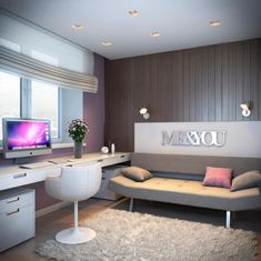 Accessories & Furniture, Nice Looking Bedroom Ideas For Teenage Girl Design With Charming Futon Sofa Bed In Gray Color And Nice White Wood Desk Plus Comfortable White Chair Also Soft Gray Fur Rug On Combined Wonderful Brown Wood Floor : Modern Bedroom Ideas For Teenage Girls