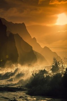 ponderation:  Hawaii, Kauai, Na Pali Coast, Sunset Along Ocean and Cliffs by m_libis