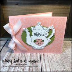 Tea Together & Tea Time Framelits : Tea Together Card designed by Debra Harrison at Simply Sweet in Ink Designs. Tea Party Crafts, Teacup Crafts, Coffee Cards, Fathers Day Cards, Stamping Up, Paper Crafts, Card Crafts, Homemade Cards, Stampin Up Cards