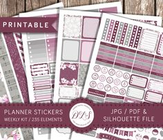 Weekly Kit Printable Planner Stickers Vertical Erin Condren LP Watercolor Magnolia Floral Stickers Silhouette Files JPG PDF Instant Download