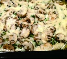 Chicken, Spinach and Mushroom Low-Carb Oven Dish - cheese, chicken, healthy, low carb, mushroom, recipes, spinach