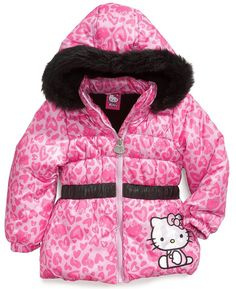HELLO KITTY SANRIO Faux-Fur Winter Coat Bubble Jacket.