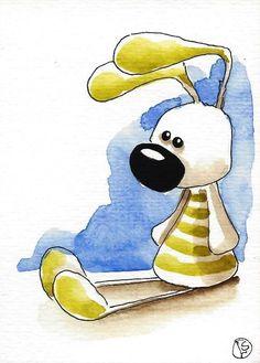 ACEO Original watercolor art whimsical animal painting Easter rabbit olive bunny #Folkartillustration