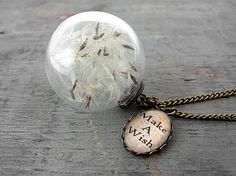 Real Dandelion Seeds in glass orb and Make a Wish charm. Bronze necklace. on Etsy, $22.90