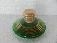 Vintage Green Round/ Disc Shape Victorian Perfume Bottle , Collectible