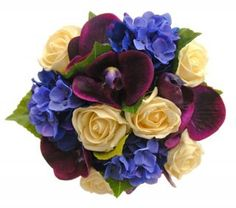 Ah pretty Kate! Blue Hydrangea, Purple Orchid Bridesmaids Bouquet