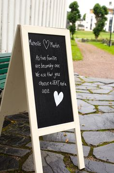 This sign was placed outside the church! Handmade and reusable.  Why not change up on the traditional on seating in the church?  Cost of project: £ 15 (for chalkboard paint and chalkboard pen)
