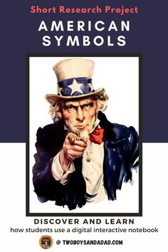 Teaching about American symbols such as the bald eagle, the US flag and Liberty Bell come alive with this digtial interactive notebook for Google Slides. This research project uses linked videos and websites for students in grades 3, 4, and 5 to learn about the most iconic symbols of America.  Students learn the history and the symbolism behind the flag, bald eagle, Liberty Bell, Uncle Sam, The Star Spangled Banner and the Great Seal of the United States. Discover and learn more! #twoboysadnadad Bozo, Teen Library, Library Ideas, Websites For Students, Math Coach, Trump Card, American Symbols, American History, Star Spangled Banner