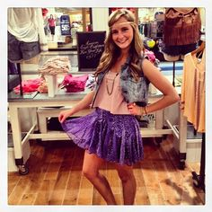 @Heather Creswell Creswell Hopkins styles our Hi-Lo Crop Tank and Printed Circle Skirt.