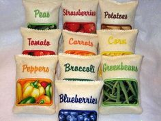 Felt Bags Of Fruit & Vegetables--use velcro closing to put felt food in them.