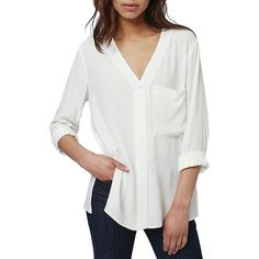 Women's Topshop Slouchy Pocket Long Sleeve Blouse (455 HRK) ❤ liked on Polyvore featuring tops, blouses, cream, white top, long sleeve tops, slouchy tops, cream long sleeve top and loose tops