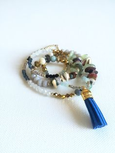 crystal and stone blue tassel necklace by tanzodesign on Etsy