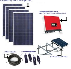 Photovoltaikanlage Bausatz 1kWp zur Hausnetzeinspeisung für Flachdach 3154-4