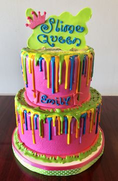 Elegant Image Of Fun Birthday Cakes Slime Queen Drip Cake Adrienne Co Bakery Little Girl
