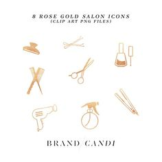 Rose Gold Salon Icons by Brand Candi on @creativemarket