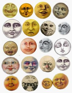 I made myself a collage sheet of vintage moon faces and thought that I would share. These are a little rough as I am just learning how to m. Collage Kunst, Face Collage, Collage Artwork, Illustrator, Moon Face, Moon With Face, Collage Sheet, Digital Collage, Stars And Moon