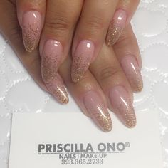 Nude with glitter ombré, almond shape nails by #Mie ✨ Make your appointments +1 (323) 365-2733