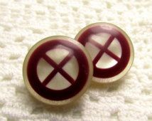 "X Marks The Spot: 3/4"" Lucite Buttons - Vintage Set of 2"