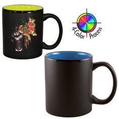 11 Oz. 2 Tone Satin Hilo C-Handle Mug - 4 Color Process (Black/Royal Blue)