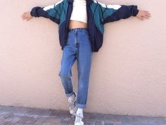 I love this oversized sweater jacket with these mom jeans. I feel it would be really comfy and would draw attention.