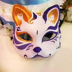 Half-Face-Hand-Painted-Japanese-Fox-Mask-Kitsune-Cosplay-Masquerade-Halloween