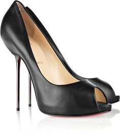 Christian Louboutin Black Open Lips 120 Leather Pumps
