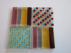 Set Of 4 Fused Glass Coasters by YaliGlassArt on Etsy, $30.00