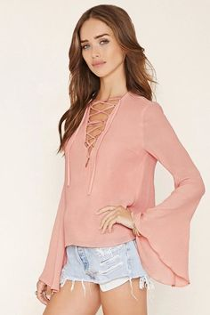 Pin for Later: Trending Outfits to Up Your Summer Fashion Game  Forever 21 Lace-Up Blouse ($20)