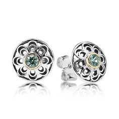 PANDORA | Silver stud earring with 14k and green synthetic spinel. Follow Renaissance Fine Jewelry or see us at www.vermontjewel.com. We sell the complete Pandora Jewelry Collection.