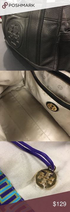 TORY BURCH BAG Black leather Tory Burch bag. 13 1/2 x 8 tall x 6 deep. GREAT CONDITION. Has small spot on inside bottom interior. ( Shown in last photo ). Hardly noticeable, but I want to be honest. Has 2 exterior pockets and 3 interior pockets. Comes with original dust bag and ALWAYS kept inside it when not used. GREAT DEAL. Tory Burch Bags