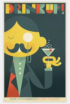 Another Richard Perez poster, this time a 20s/30s styled advert for an imaginary drink called 'Mon Campagnon'. Poster Ads, Poster Prints, Vintage Posters, Vintage Artwork, Bar Art, Graphic Design Illustration, Graphic Art, Dream Illustration, Martinis