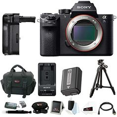 """Sony Alpha a7SII Mirrorless Digital Camera with Vertical Grip and 39"""" Tripod Accessory Bundle (Body Only)"""