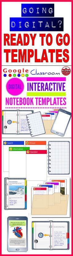 Distance Learning Digital Interactive Notebook Templates Commercial Use Powerpoint Format, Mobile Learning, Blended Learning, Science Classroom, School Hacks, Google Classroom, Interactive Notebooks, Educational Technology, Templates