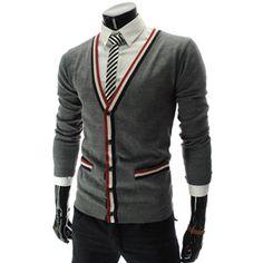 (SG04-GRAY) Slim Fit Wool Knit Cardigan