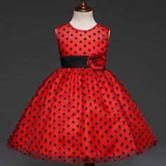 Summer O-Neck Girl Dot Dress with Flower Belt Fashion Bohemian Style Kid Girl Dot Dresses Clothes Robe Fille Enfant 4-10 Years #Affiliate