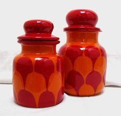 Mid Century Modern Lidded Jars Canisters Apothecary Jar Ginger Jar Lid Atomic Red Psychedelic Design Modernist Ceramics Lidded Vessel Italy