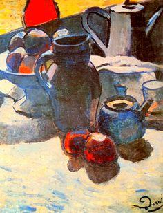 유 Still Life Brushstrokes 유 Nature Morte Paintings - Still Life with Blue Pot / Andre Derain - 1904