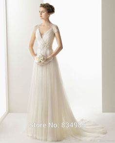 New Arrival 2015 Customized Made White Ivory Lace Cap Short Sleeves Horny Bride Attire A Line Seashore Wedding Dress