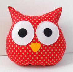 Almohada - rojo - verde - Polka Dots - buho decoración - decoración para el hogar - decoración de Navidad buho