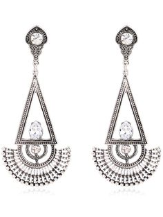 Rhinestone Fan Dangle Earrings #CLICK! #clothing, #shoes, #jewelry, #women, #men
