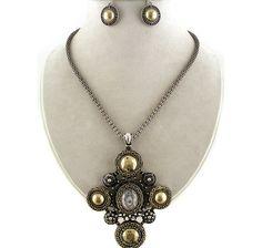 "Uniklook Tri Tone Metal Art Modern Cross Pendant 17""-19"" Necklace Earrings Set $19.99"
