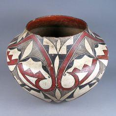 """Vintage Acoma Fine Line Geometric Jar, c. 1910, 10 1/2"""" Tall, 13"""" Dia, unknown artist"""