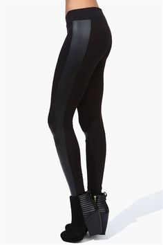Midnight Leggings with a faux leather trim. Pair with an oversized boyfriend sweater.