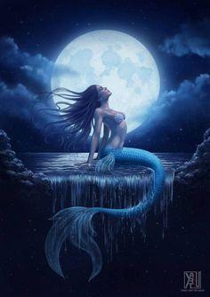 Moon: Mermay Day 13 colored by YasuMatsuoka on DeviantArt Fantasy Art Women, Beautiful Fantasy Art, Dark Fantasy Art, Fantasy Artwork, Anime Mermaid, Mermaid Fairy, Mermaid Artwork, Mermaid Drawings, Fantasy Mermaids