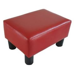 Homcom Modern Small Faux Leather Ottoman / Footrest Stool - Red