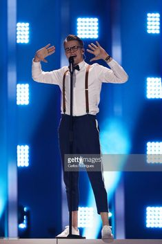 Singer Mikolas Josef representing Czech Republic performs during the second Grand Final Dress Rehearsal of Eurovision Song Contest 2018 in Altice Arena, on May 2018 in Lisbon, Portugal. Junior Eurovision, Rehearsal Dress, Music Composers, Lisbon Portugal, Best Songs, Choir, Czech Republic, Finals, Joseph